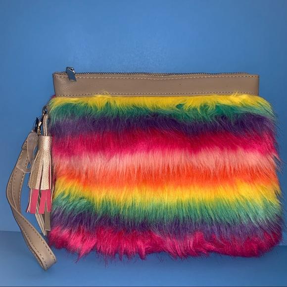 Handbags - NWT furry rainbow 🌈 large wristlet or clutch